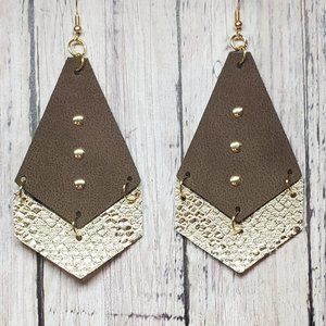 2-color Faux Leather Earrings